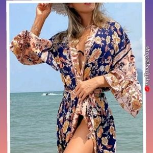Navy Blue Tribal Floral CoverUp/Kimono 🙋5 🌟rated